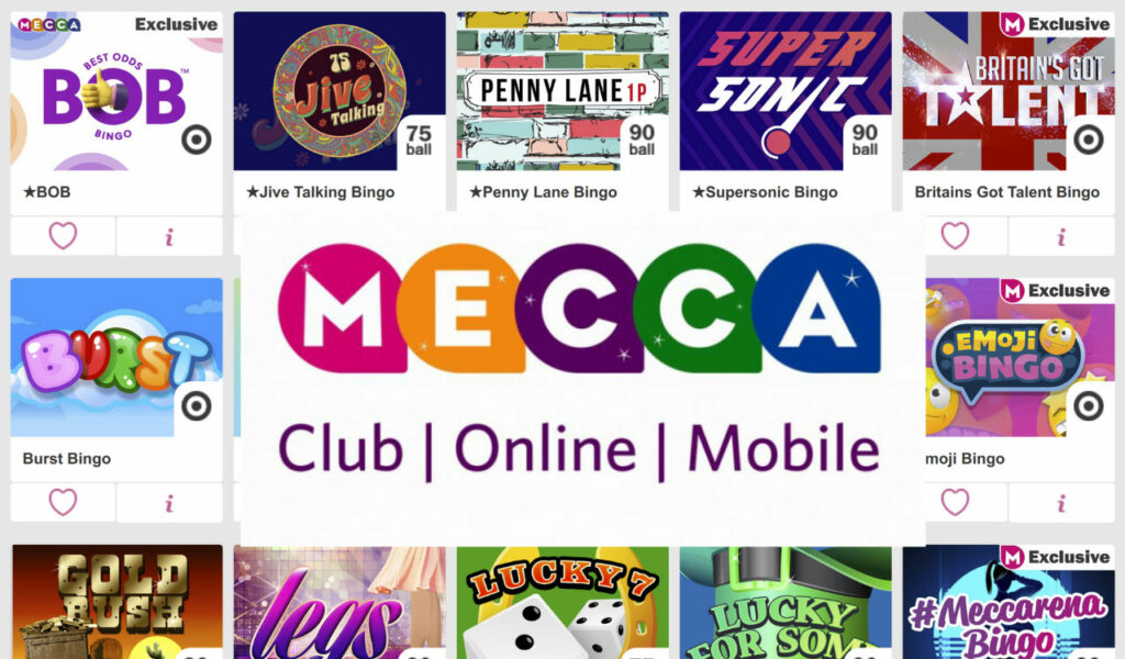 You can play a variety of bingo games at Mecca Bingo